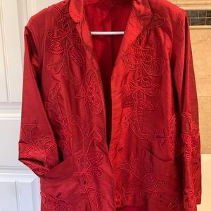 Chico's 100% red silk jacket with cotton lining.